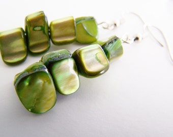 Seaweed - Mother of Pearl Stacks - FREE shipping with another item - affordable gifts and everyday treasures- March- St Patricks day