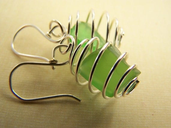 Emerald Green SEAGLASS in spirals