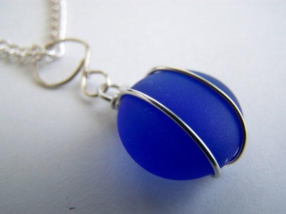 Sapphire Blue SEAGLASS Pendant