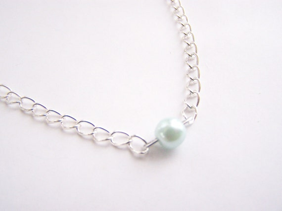 Tiffany Blue Glass Pearl Necklace - Matching earrings also available