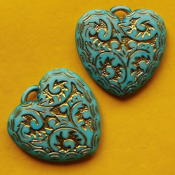 2 plastic ornamented heart charms, teal blue - HP0022