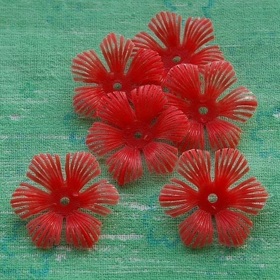 Vintage beads - 6 soft flexible plastic bluet beads, red