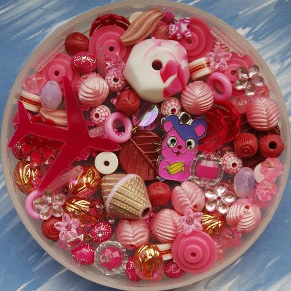 Pink bead mix - 100 pieces