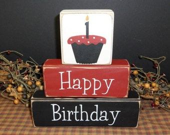 Happy Birthday personalized custom wood blocks sign