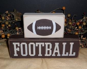 Football primitive wood blocks sign