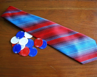 Vintage Mens Designer Striped Tie - Neckware - Monsieur Bernard -Reds and Blues - Wide Tie - Retro - Mod