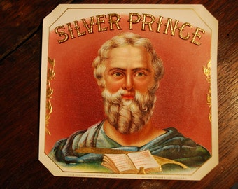 Silver Prince outer cigar label - lithograph 1910's - Commercial Art - Industrial - Frameable Art - Ephemera