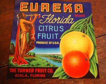 EUREKA Brand Citrus Crate Label - 1940's - Indian - Industrial Art - Collectible Ephemera - Frameable Ephemera