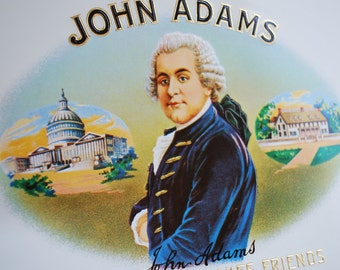 JOHN ADAMS - inner cigar box label lithograph - early 1900's - Ephemera - Presidential - Americana - Industrial Art