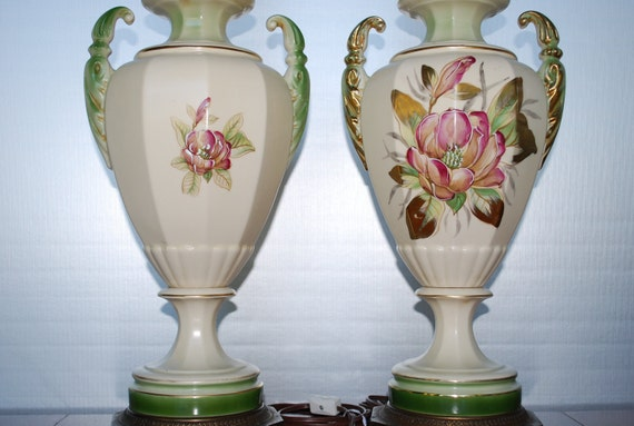 Pair of Vintage Floral Urn Style Table Lamps - with brass filigree bases - Art Nouveau - Hollywood Regency