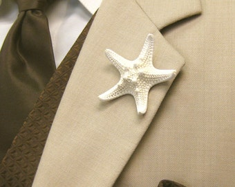 Beach Wedding Starfish Boutonniere, Starfish Lapel Pin, Groom Starfish Lapel Pin, Star fish Boutonniere, Star fish Lapel Pin