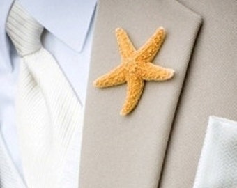 Beach Wedding Boutonniere, Groom Lapel Pins, Groom Starfish Pin, Proms, Beach Parties, Starfish Lapel Pin,Starfish Boutonniere