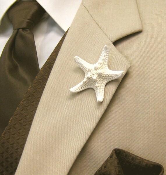 Beach Wedding Starfish Boutonniere, Starfish Lapel Pin, Groom Starfish Lapel Pin, Star fish Boutonniere, Star fish Lapel Pin