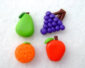 Polymer Clay Fruit Refrigerator Magnets, Set of 4