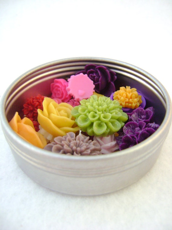 22 Mixed Resin Flower, All Shapes and Colors