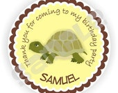 Turtle Birthday Labels - 40 Thank You 2 inch circle Stickers - Birthday Favor Labels - Baby Shower Labels - Envelope Seals - Address Labels