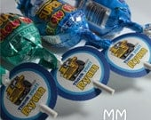 Lollipop Favor Tags - Personalized - Set of 20 - Birthday - Baby Shower - Truck Theme
