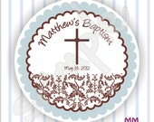 40 Thank You 2 inch circle Stickers - Baptism - Envelope Seal - Address Label - Personalized