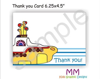 Submarine Theme - Thank You Cards with Envelopes - Set of 20