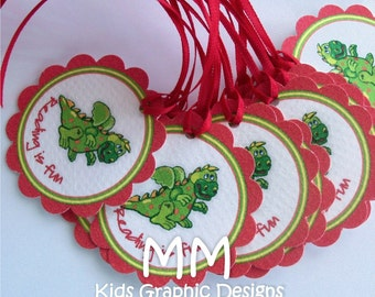 100 Thank You 2inch circle Tags with scalloped edges - Dragon Theme - Birthday - Baby Shower Favor Tags - Thank You Favor Tags