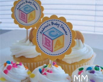Blocks Theme - 30 Cupcake Toppers - Personalized - Birthday - Baby Shower