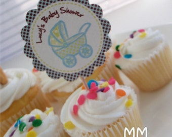 20 Cupcake Toppers - Personalized - Birthday - Baby Shower