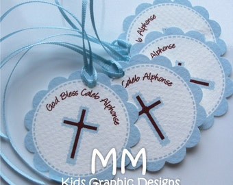 140 Thank You 2inch circle Tags with scalloped edges - Birthday - Baby Shower - Communion - Baptism - Thank You - Personalized