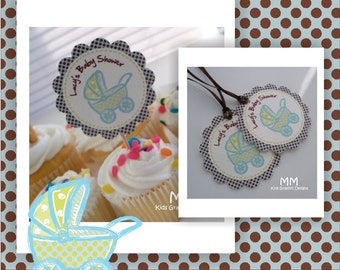 Baby Shower Tags - Baby Carriage Theme - Baby Shower Custom Package - Set of 20 - Favor Tags
