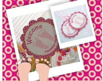 Footprint Theme - Baby Shower Custom Package - Set of 20 - Cupcake Toppers and Favor Tags - It is a Girl Baby Shower