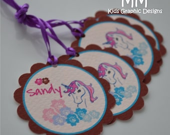 40 Thank You 2inch circle Tags with scalloped edges - Unicorn Theme - Birthday - Baby Shower - Baptism - Thank You - Personalized