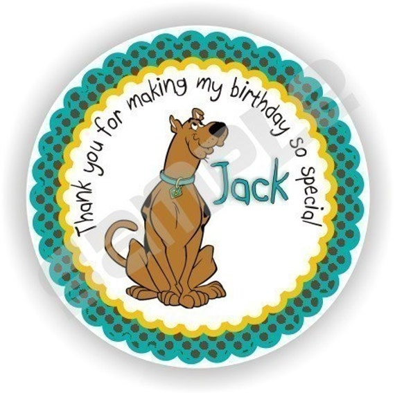 Scooby Doo Baby Shower Theme: 40 Thank You 2 Inch Circle Stickers Birthday Baby Shower