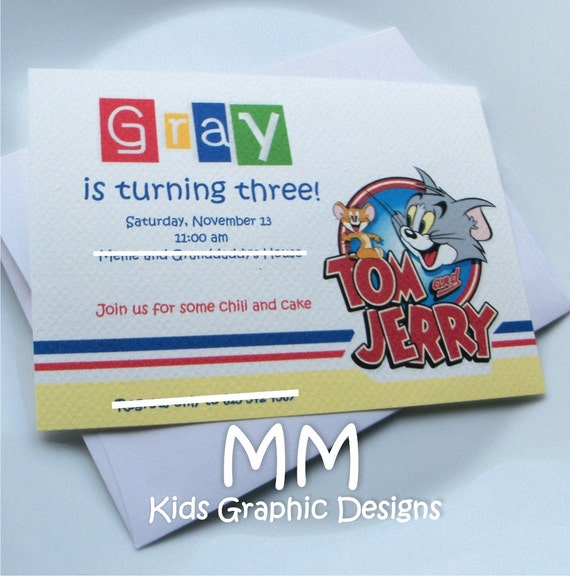 Tom and Jerry Theme - Birthday Invitation with Envelopes - Set of 20
