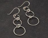 """Sterling Silver Earrings - Long Dangle Earrings- Modern handmade silver jewelry- """"Triple Hoop Earring"""""""