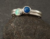 Stacking Ring Set- Opal Ring and Lapis Ring- Blue Stone Rings- Silver Stacking Rings