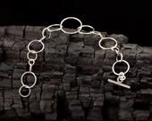 Sterling Silver Bracelet- Silver Chain Bracelet- Circle Chain Link Bracelet- Modern Metalwork Bracelet- Sterling Silver Jewelry Handmade