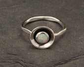 Opal Ring- Silver Opal Ring- Sterling Silver Gemstone Ring- Modern Opal Ring with hammered band- Handmade Sterling Silver jewelry