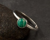 Amazonite Ring- Simple Silver Stone Ring- Green Gemstone Ring- Sterling Silver Ring- Modern Silver Jewelry - size 6, 7, 8