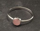 Rose Quartz Ring- Sterling Silver Ring- Pink Stone Ring- Silver Stone Ring- Handmade Silver Jewelry- your size