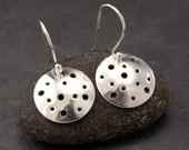 Silver Disc Earrings- Sterling Silver Earrings- Simple Silver Earrings- Dangle Earrings- Modern Metalwork Earrings