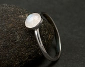 Rainbow Moonstone Ring- Faceted Moonstone Ring- Sterling Silver Moonstone Ring- Silver Stone Ring- Sterling Silver Ring- your size
