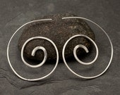 Spiral Earrings Sterling Silver - Silver Spiral Earrings - Silver Swirl Earrings- Dangle Earrings- Sterling Silver Jewelry Handmade