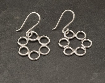 Sterling Silver Earrings- Silver Circle Earrings- Silver Hoop Earrings- Dangle Earrings- Handmade Sterling Silver Jewelry