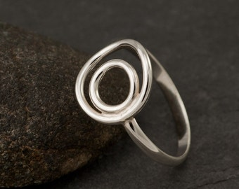 Ring Silver- Sterling Silver Ring- Silver Circle Ring- Circle Duo Ring - Handmade Modern Silver Jewelry