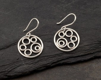 "Sterling Silver Earrings- Silver Circle Earrings- Silver Dangle Earrings- Sterling Silver Jewelry Handmade- ""Circle Cluster Earrings"""