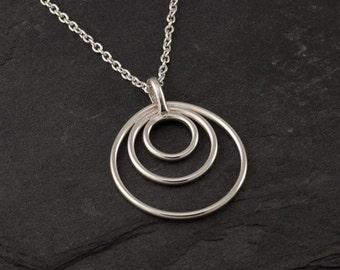 "Sterling Silver Pendant- Sterling Silver Necklace- Silver Circles Necklace- Sterling Silver Jewelry Handmade- ""Circle Trio Pendant"""
