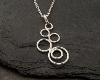 "Silver Circles Necklace- Modern Artisan Pendant -Handmade Sterling Silver Necklace- ""Cascading Circles Pendant"""