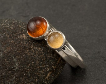 Stacking Rings- Amber Ring & Citrine Ring- Silver Stone Rings- Silver Stacking Rings- Stack Rings- made in your size
