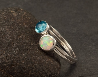 Stacking Rings- Silver Stacking Ring Set- Stack Rings- Stone Rings- Blue Topaz Ring, Opal Ring, Stackable Rings