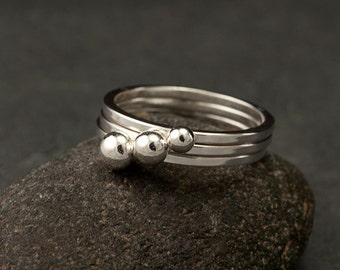 Sterling Silver Stacking Rings- Silver Stacking Ring Set- 3 Stacking Rings with balls- Modern Silver Ring- silver jewelry- 6.5