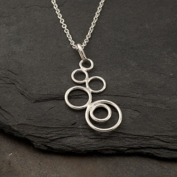 "Silver Circles Necklace- Modern Artisan Pendant -Handmade Sterling Silver Necklace- ""Cascading Circles Pendant"""